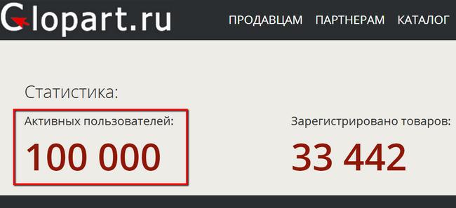 100 000 пользователей Glopart